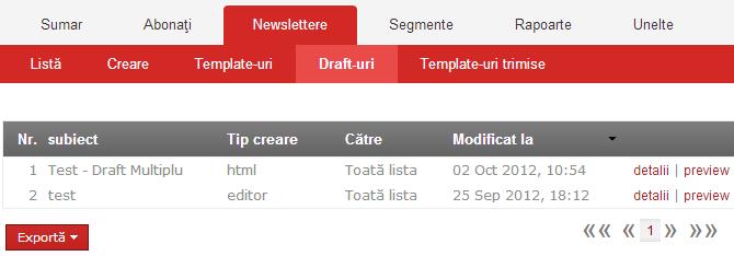 Drafturi multiple pentru newsletter